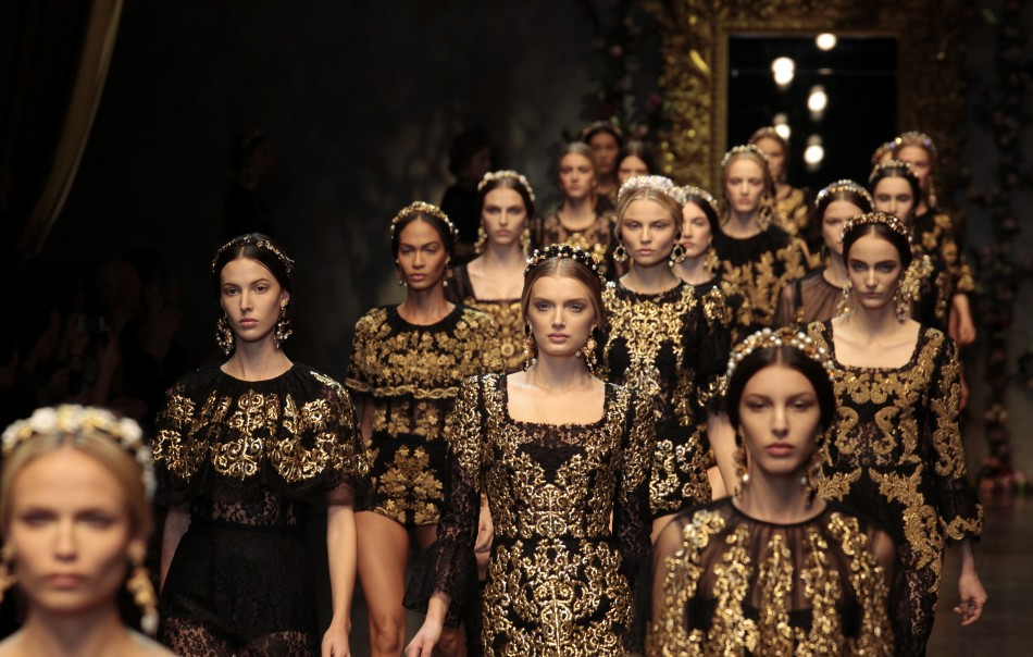 Image courtesy of ibtimes: Dolce & Gabbana showcase Baroque glamour on the catwalk.