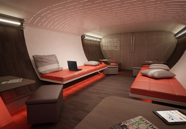 Luxury Airplane Interior created by Nike for Professional Athletes