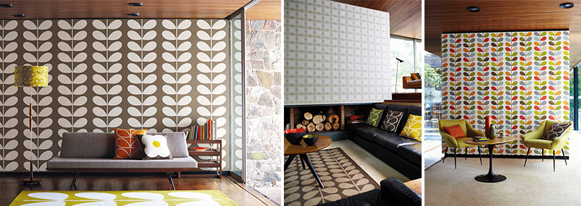 ... wallpapers with renowned designer Orla Kiely. (Left-Right) Giant Stem, Flower Tile and Multi Stem, all from