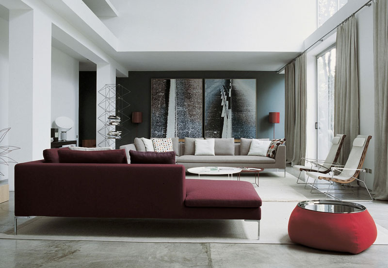Pantone colour of the year 2015 marsala for Living room ideas with burgundy sofa