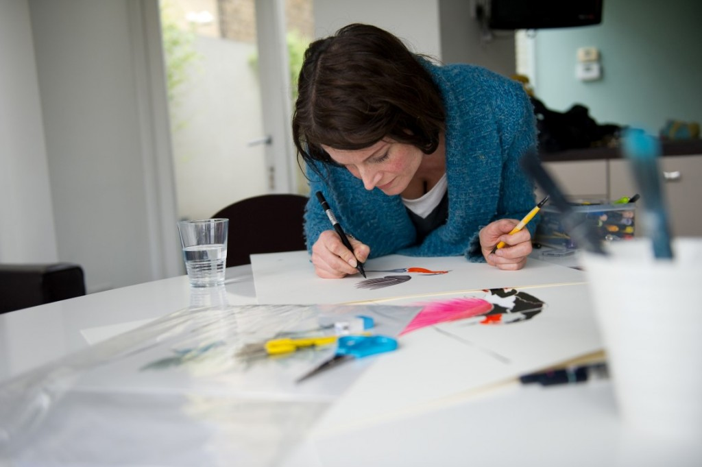 Anna Jacobs painting in studio