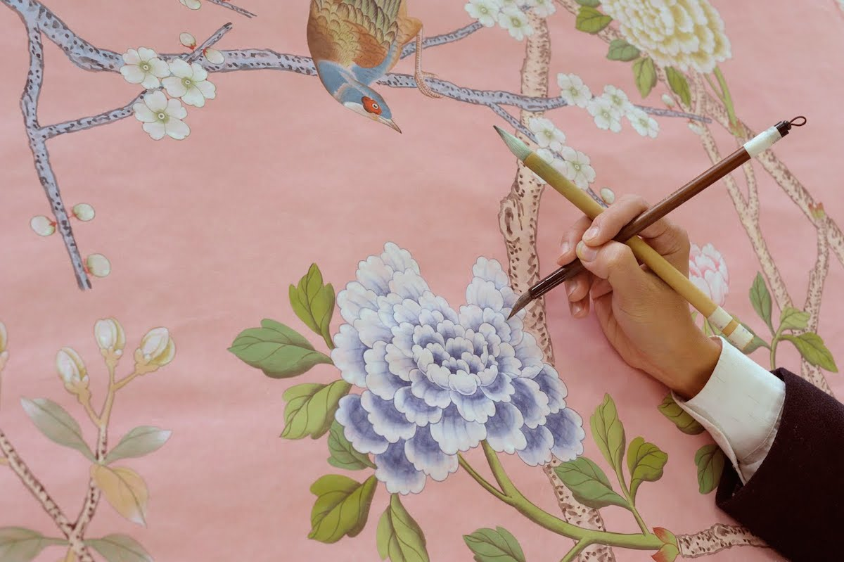 Wallcovering specialists de Gournay - Image courtesy of Decorex