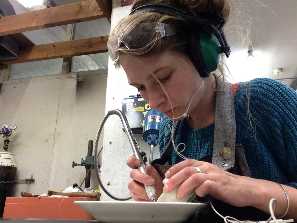 Katie Spragg working in the Cold Glass Shop