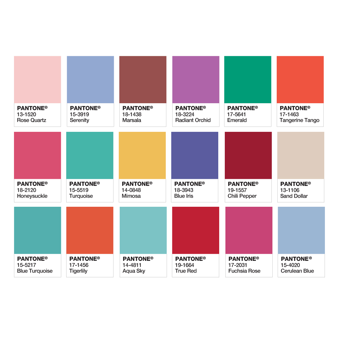 Pantone Colors of the Year from 200-2016