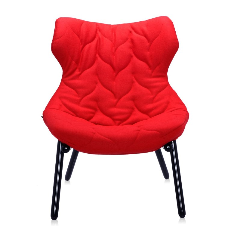 Kartell Foliage Black Legs Armchair - Red 66637 (1)