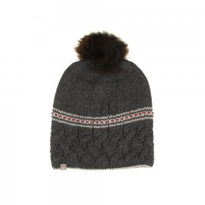 Samantha Holmes Alpaca Cable Knit Pompom Hat - Charcoal
