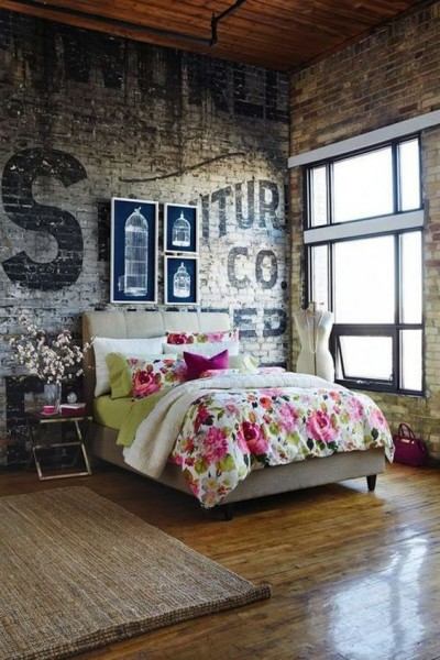Love The Contrast Between Raw Brick Walls And Floral Bed Linen In This Industrial  Bedroom |
