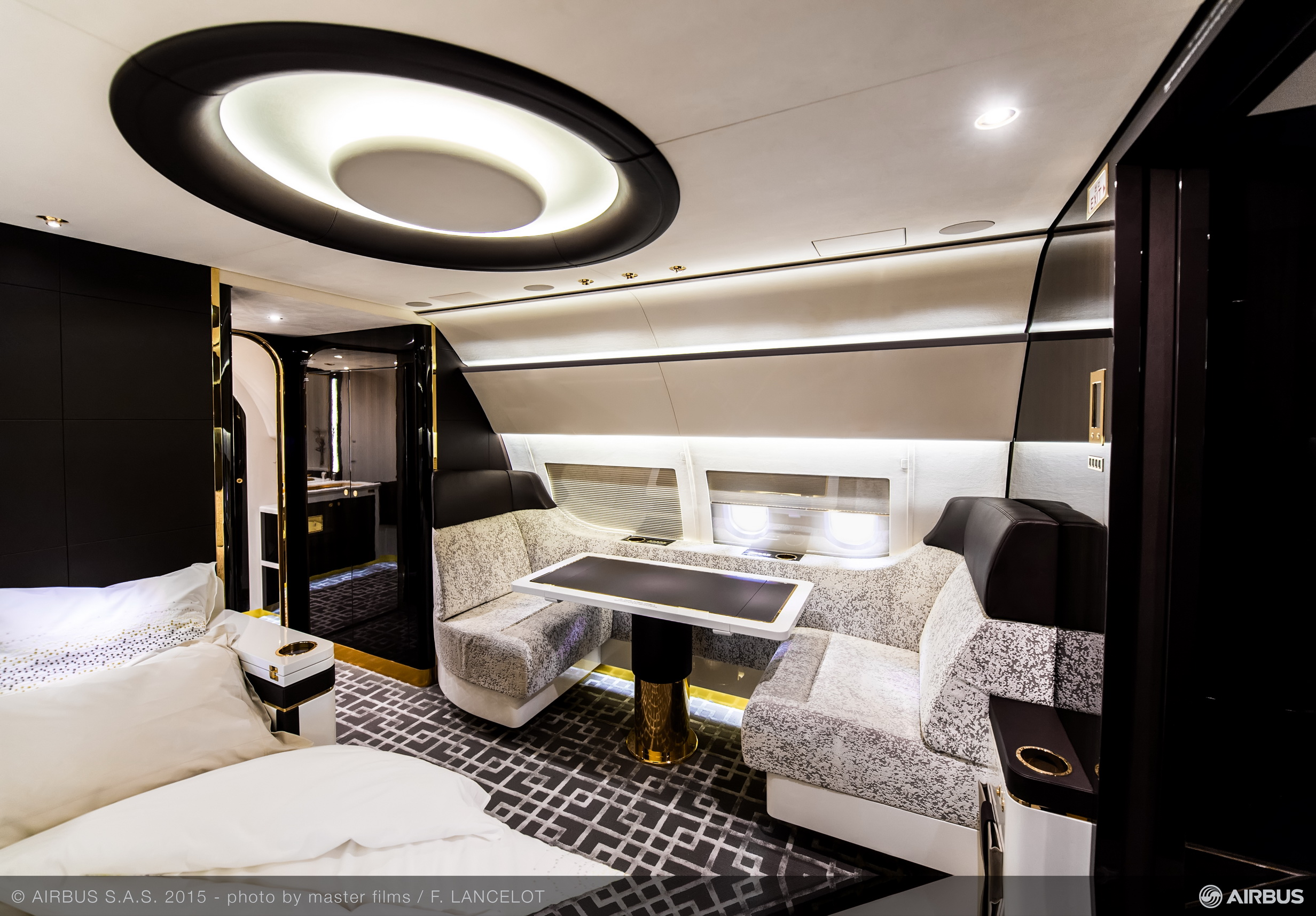 luxury interior of airbus corporate jet inspired by art deco trains the luxpad. Black Bedroom Furniture Sets. Home Design Ideas