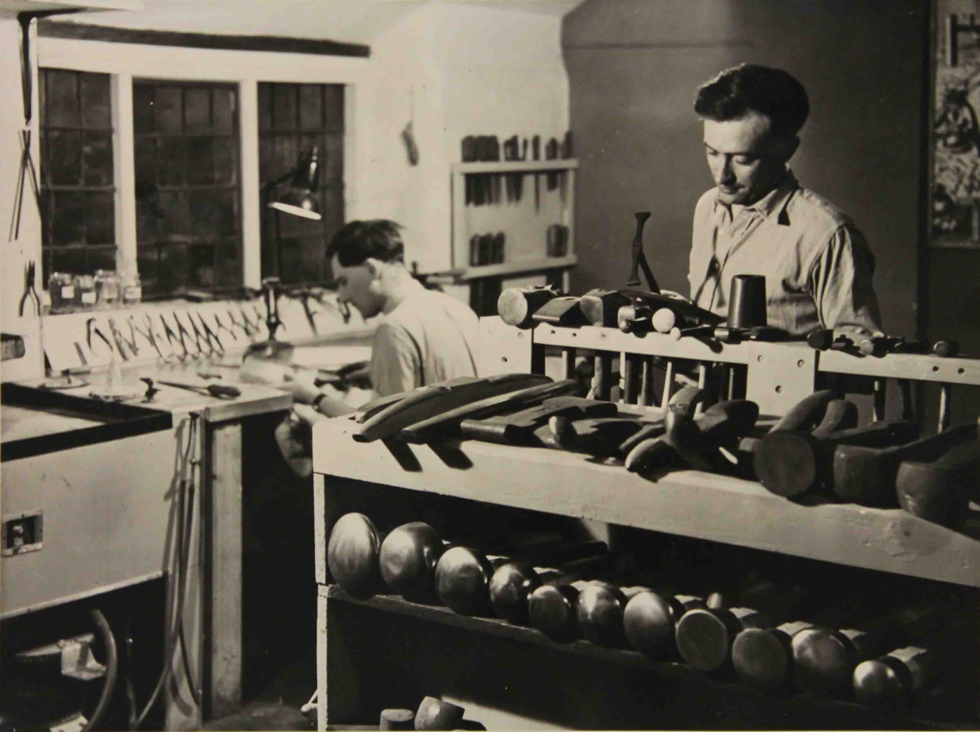 1955, Working in the early workshop. RW & colleague (possibly Donald McFall) - Image courtesy of Robert Welch Design Studio