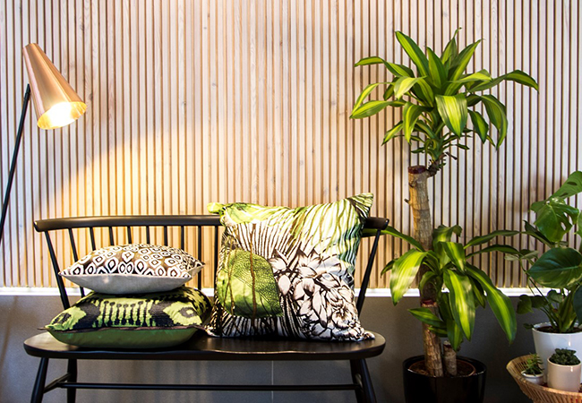 Tropical Interior Style With Palms Pineapples