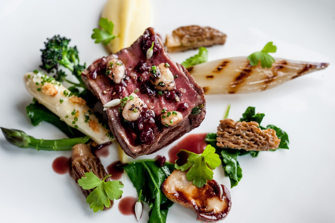 Beef merrells and white asparagus - Photography by David Griffen