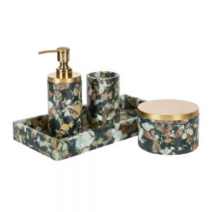 Nordal Green Marble Chips Bathroom Collection