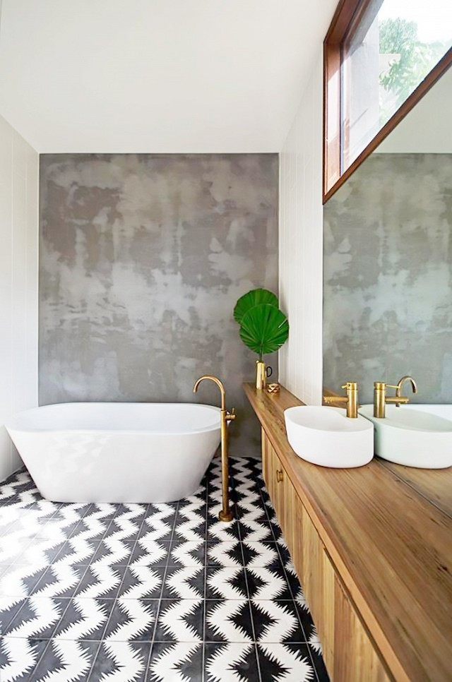 Concrete bathroom wall trend