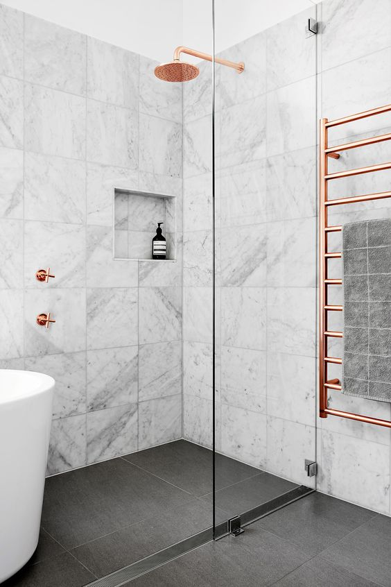 Marble bathroom tile trend