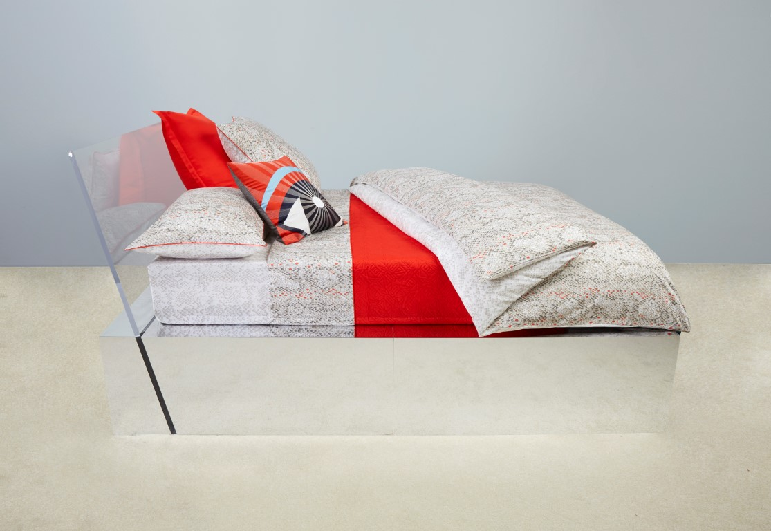 Kenzo bamboo bed linen collection printed sateen. Luxury long-staple Combed Cotton Sateen, TC with khaki piped finishing.