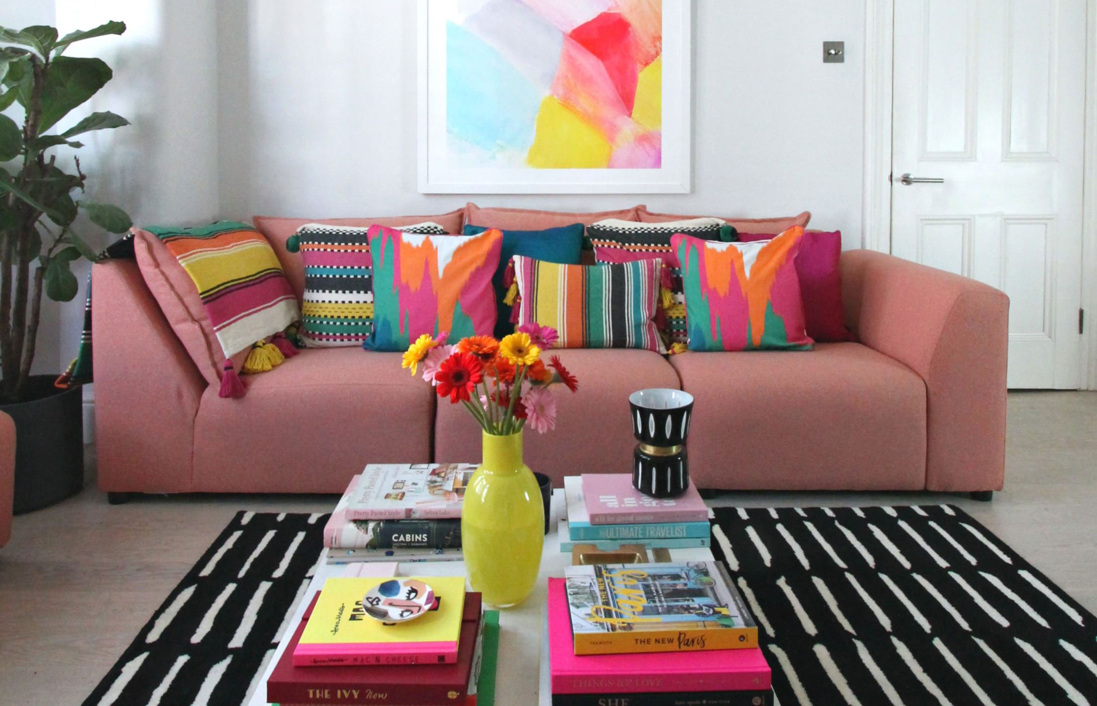 little big bell styles her home with the colourful arcade trend - Colourful Living Room