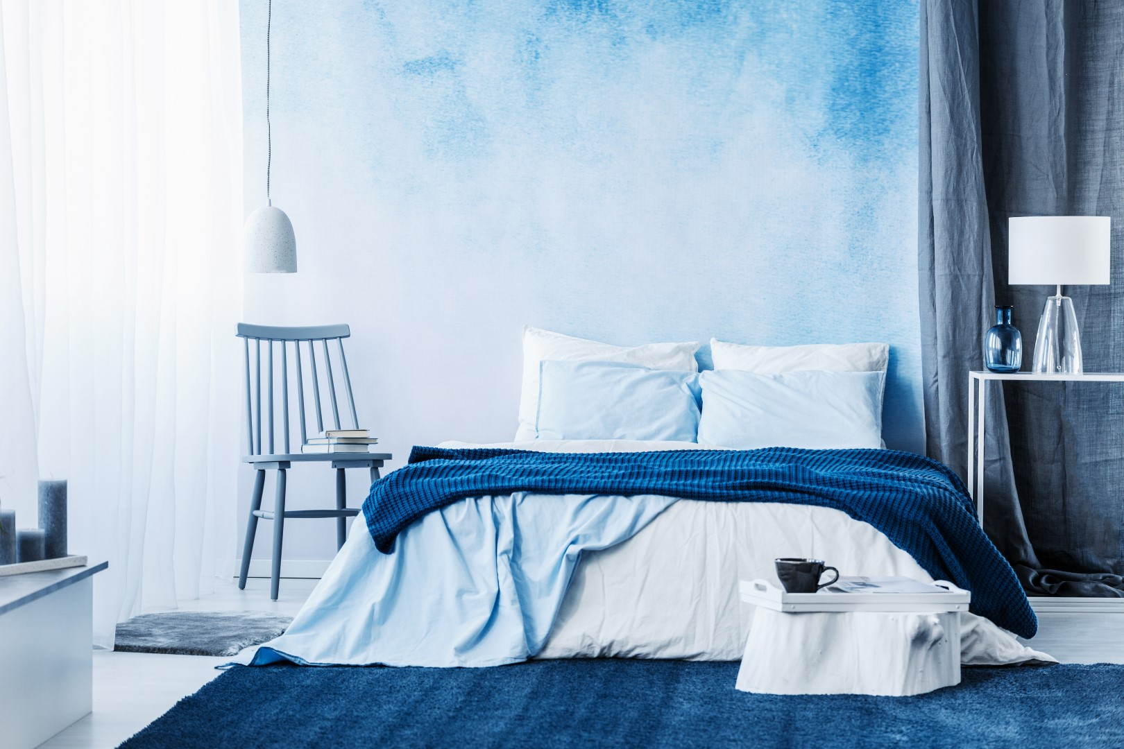 . Pics Of Interior Of Bedroom With Blue Colour And Round Bed   home