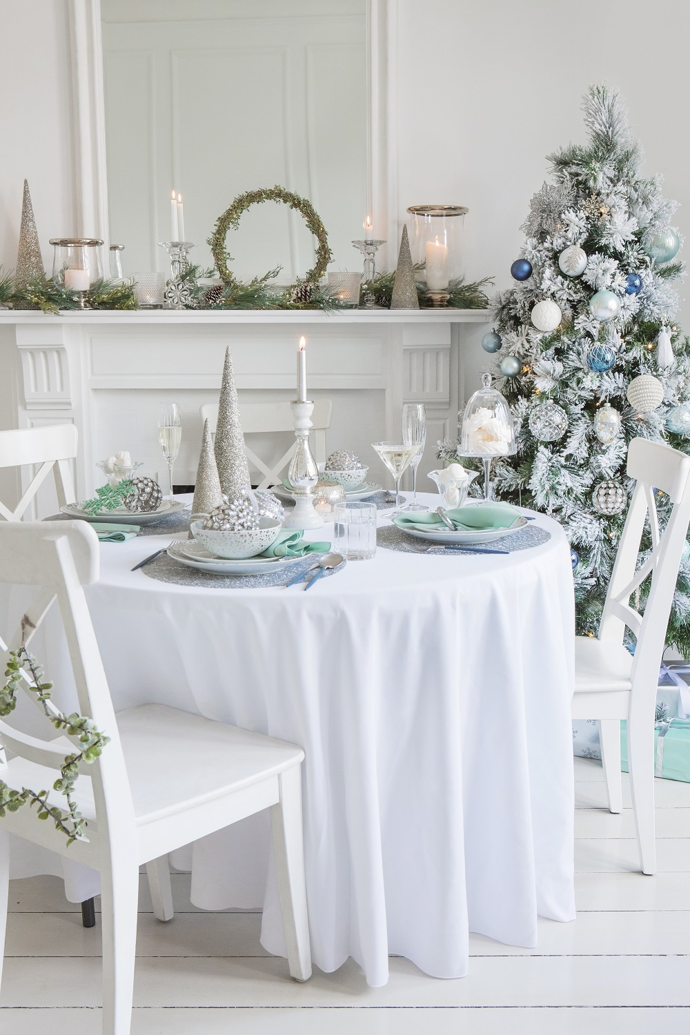 Silver & ice blue Christmas decorations