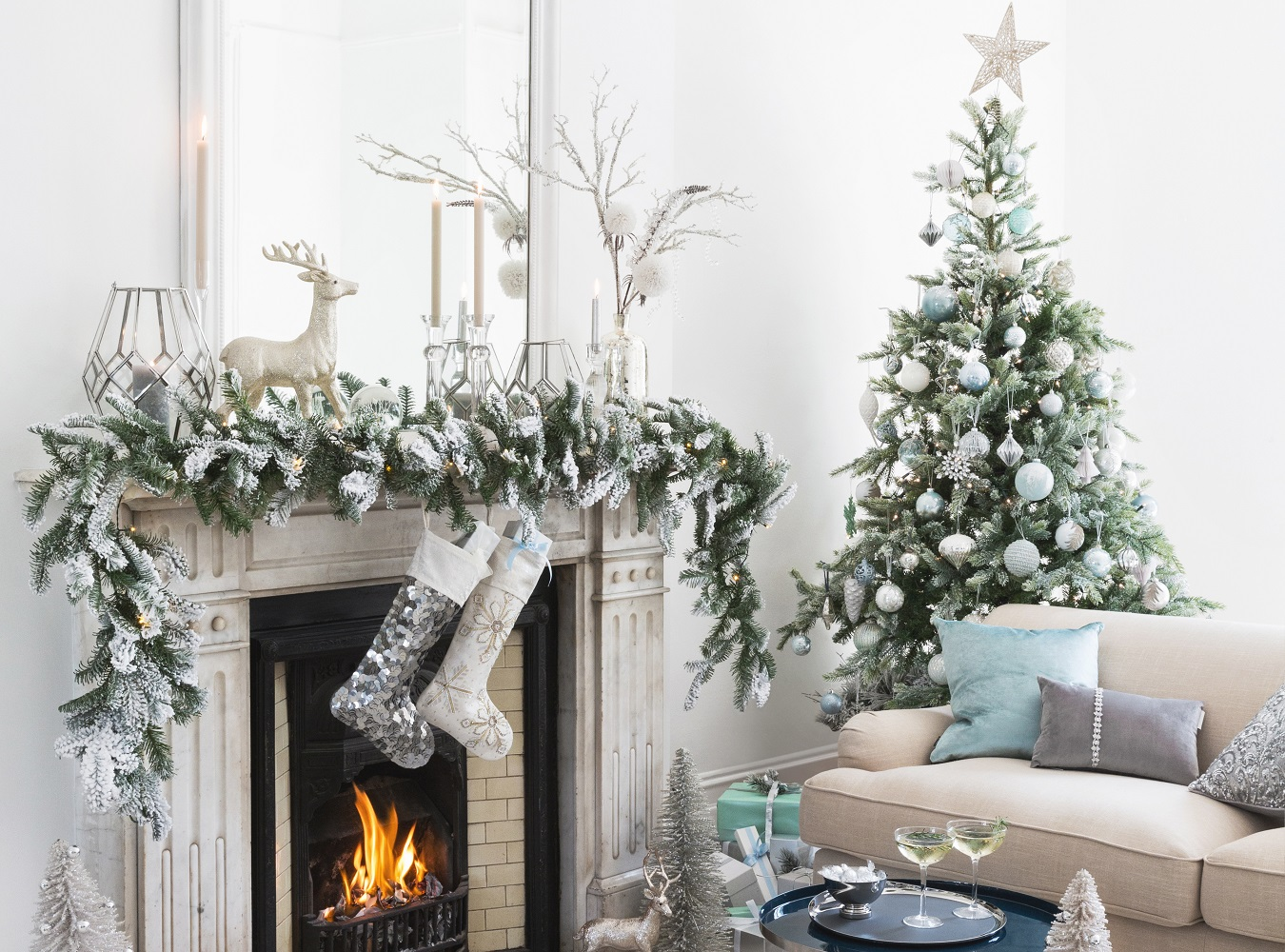 create a winter wonderland with glacial ice blue christmas decorations. Black Bedroom Furniture Sets. Home Design Ideas