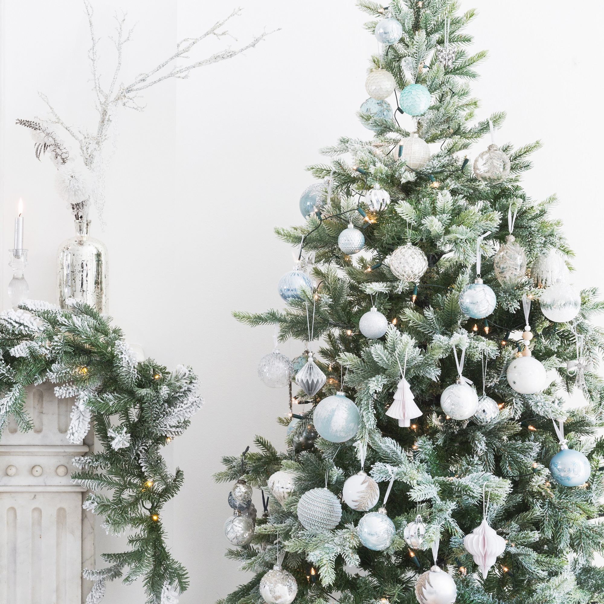 silver ice blue christmas decorations