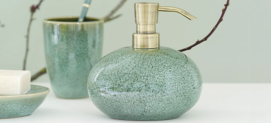 green soap dispenser