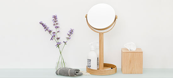 wooden bathroom mirror and matching tissue box