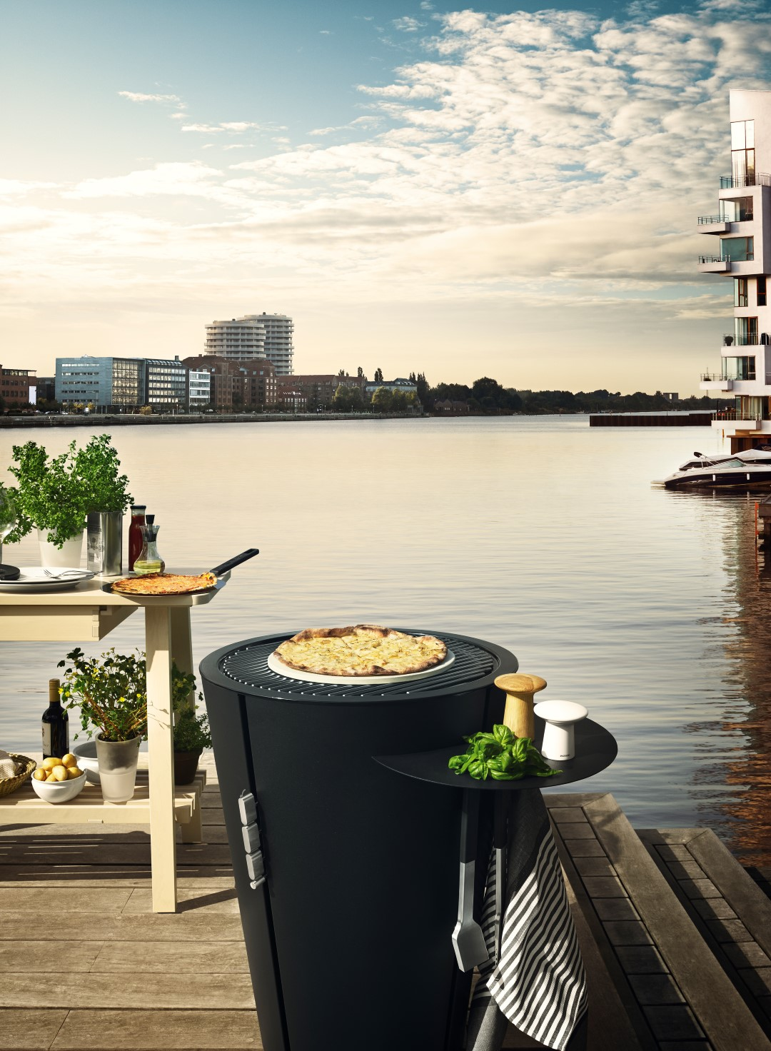 barbecue on decking by water