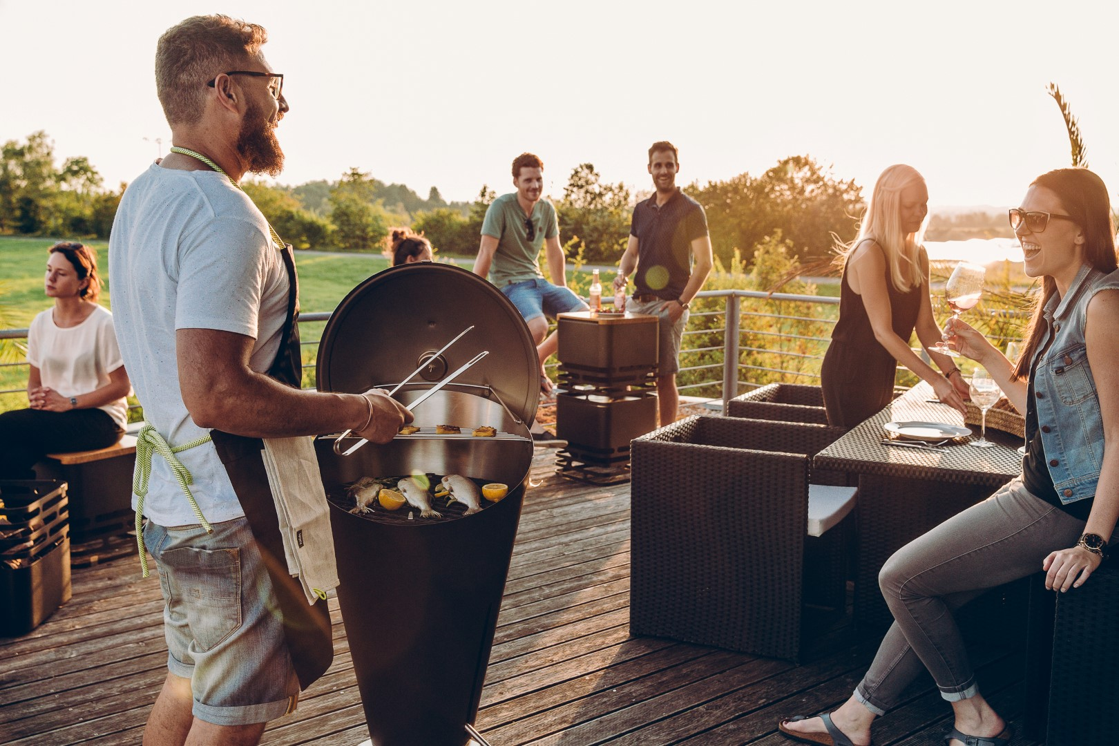 barbecue surrounded by people