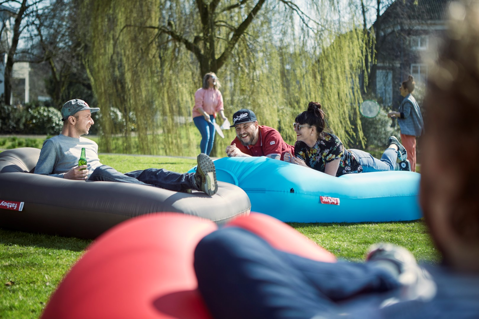 Inflatable Fatboy Loungers In Park