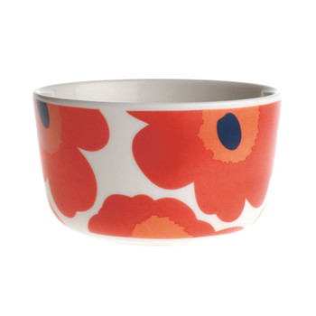 Oiva/Unikko Bowl - White/Red - Small
