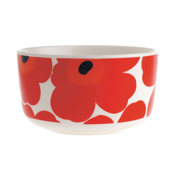 Oiva/Unikko Bowl - White/Red - Large
