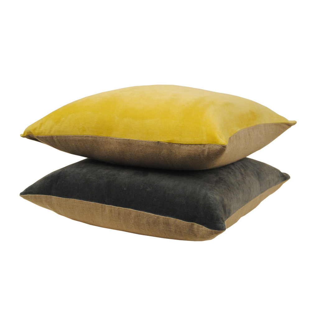 Niki Jones - Chartreuse Velvet Linen Pillow - 50x50cm
