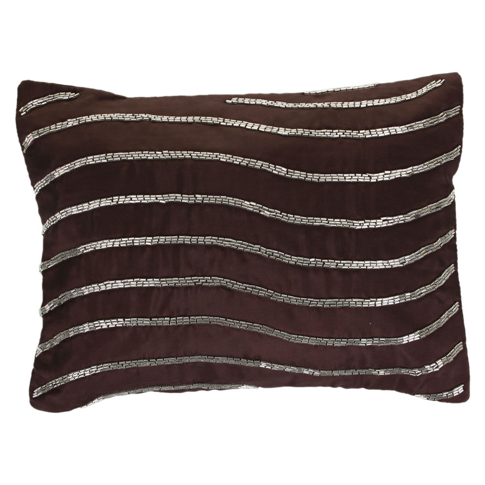 Gingerlily  Silk Wave Bed Cushion  30x40cm  Chocolate