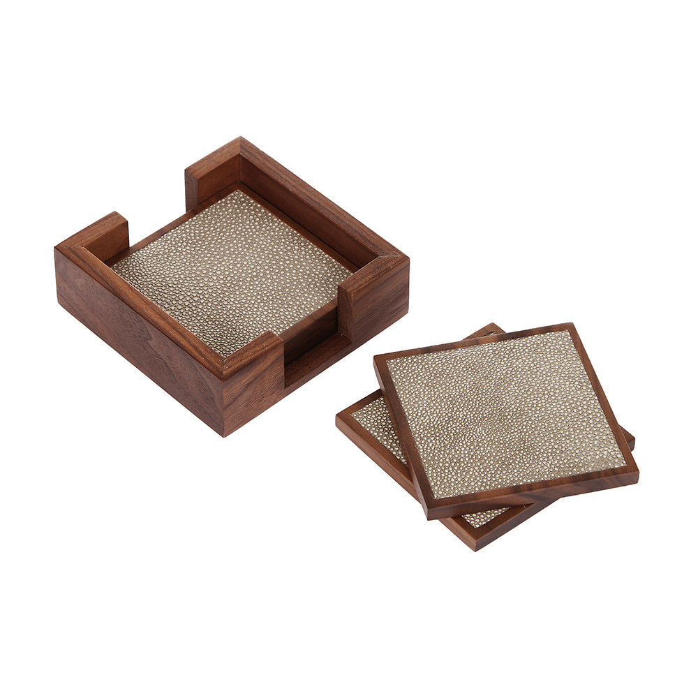Alexander James - Walnut  Smoke Shagreen Coasters - Set of 4