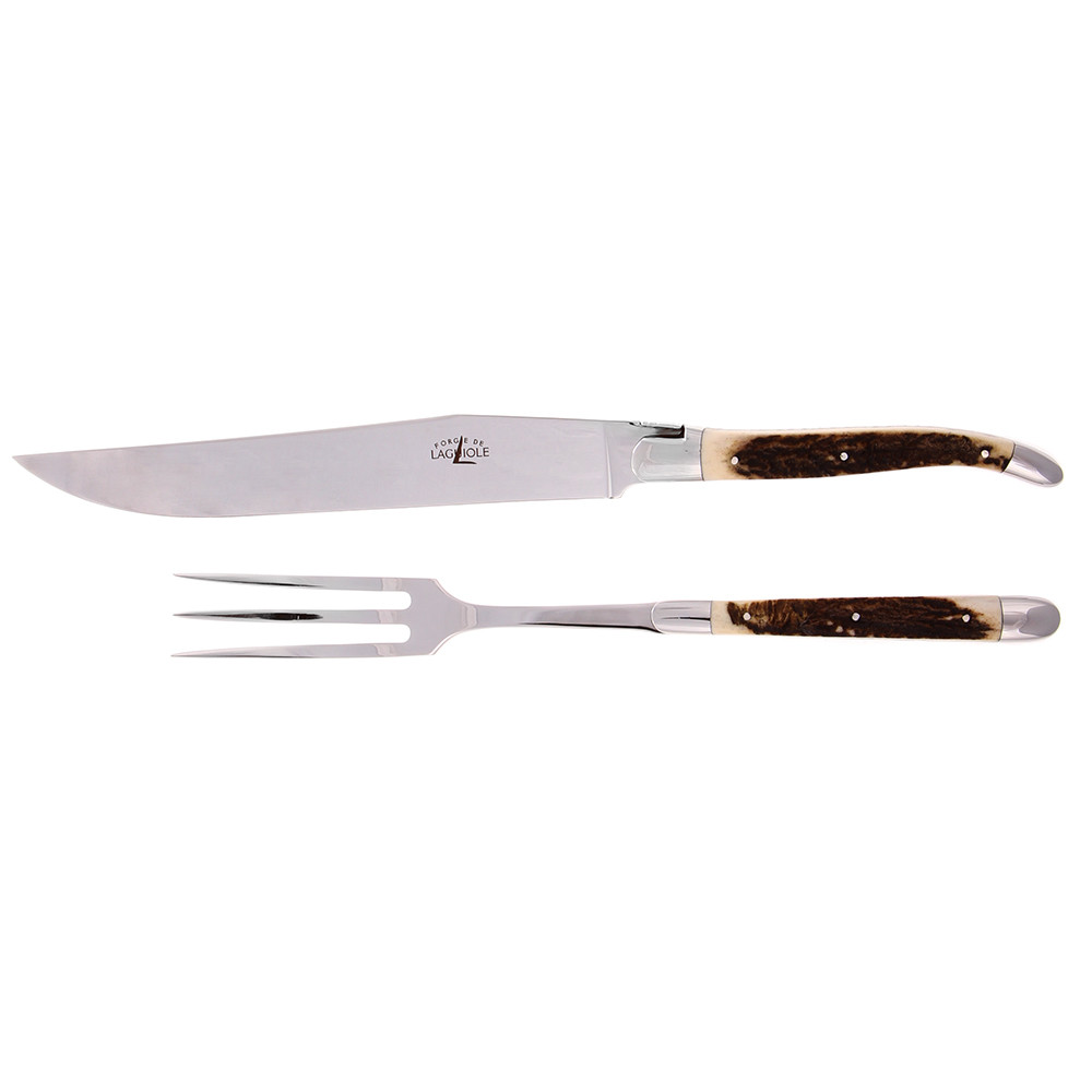Carving Knives Product: Buy Forge De Laguiole Stag Horn Carving Knife Set