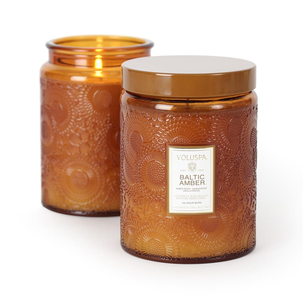 Voluspa - Japonica Large Glass Candle - Baltic Amber