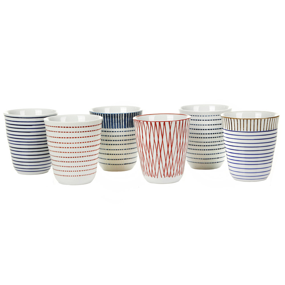 Tassen Crockery : Buy pols potten block stripe cups set of amara