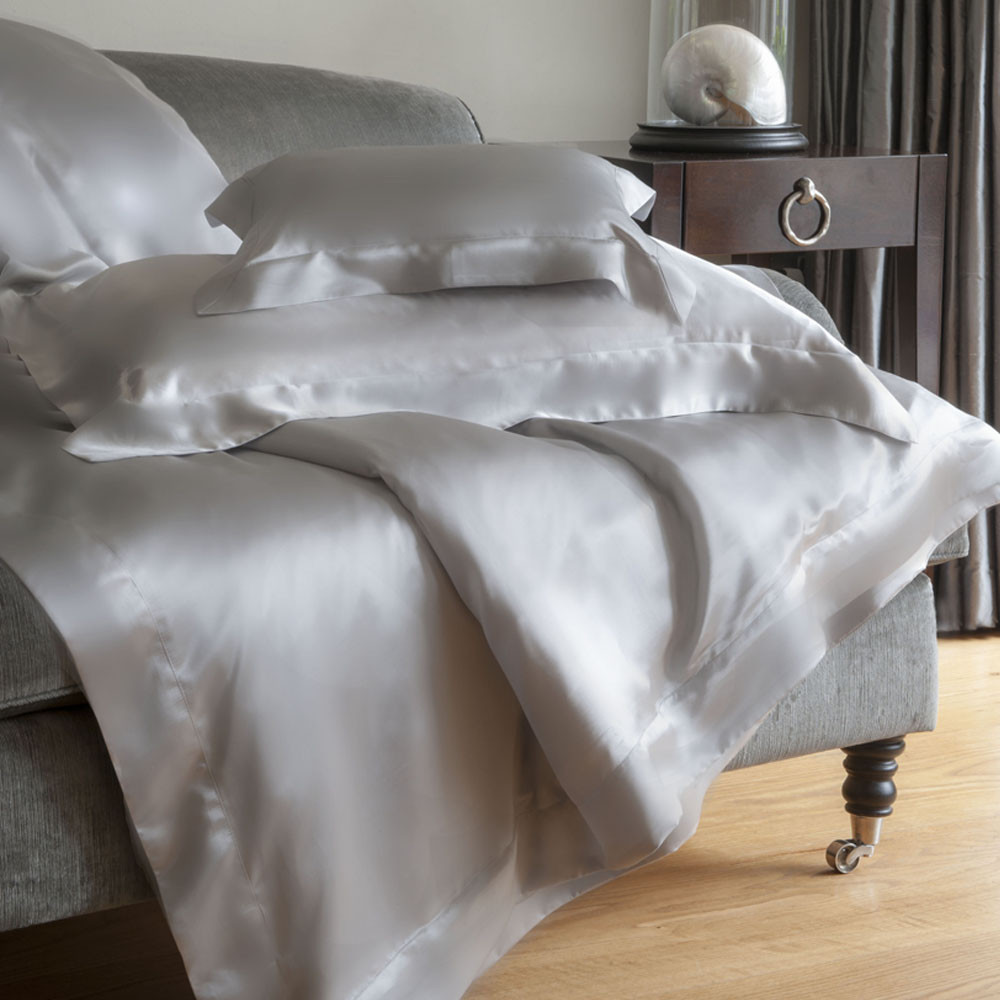 Buy Gingerlily Silk Fitted Sheet   Silver Grey | Amara