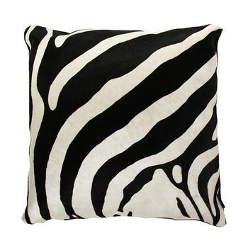 Zebra Printed Cowhide Pillow - 60x60cm - 60x60cm