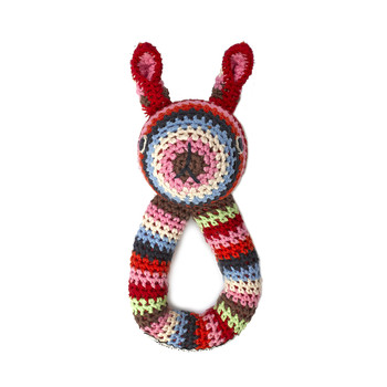 Crochet Rabbit Ring Rattle - Multi
