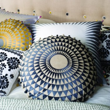 Concentric Pillow - Ø50cm - Gold on Dove Gray