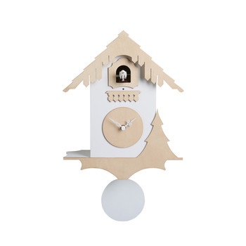 Chalet Wall Clock - White/Birch