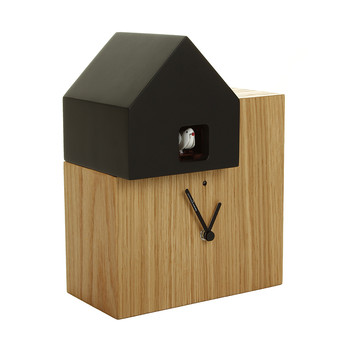 Short Ettore Clock - Oak/Black