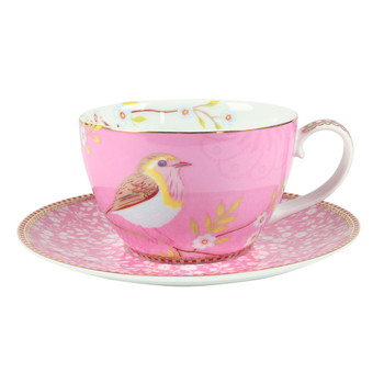 Early Bird Cappuccino Cup & Saucer - Pink