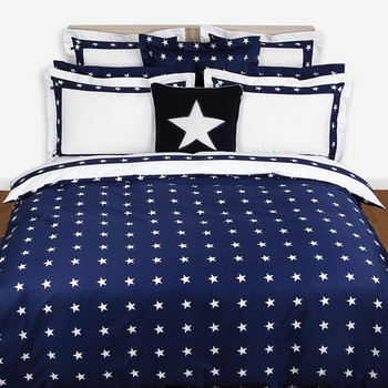 Star Border Duvet Cover - Navy