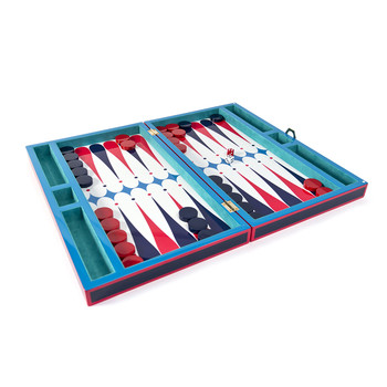 Lacquer Backgammon Set - Red/Turquoise