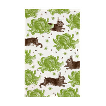 Rabbit & Cabbage Tea Towel - Green