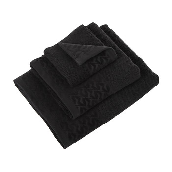 Contrast Border Towel - Black