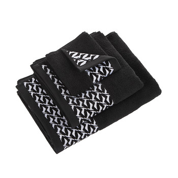 Black & White Towel - Seagull Border - Black