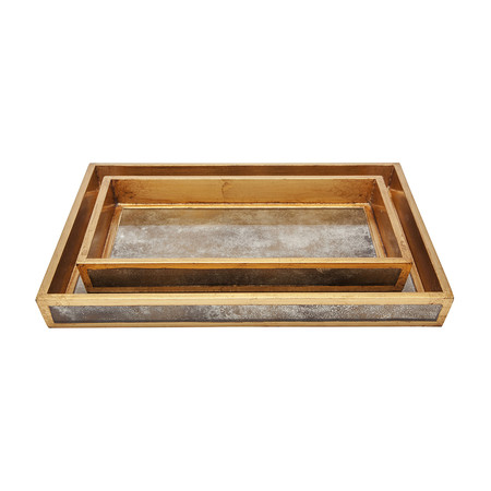 Pigeon & Poodle - Atwater Tray Set - Antiqued Gold
